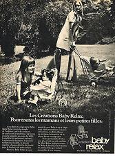 PUBLICITE ADVERTISING 0314   1971   BABY RELAX sièges pour bébé et poupées