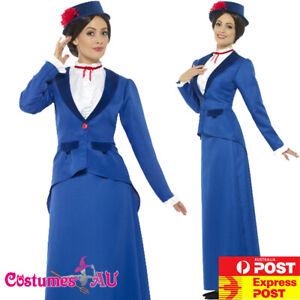 Ladies Victorian Nanny Mary Poppins Costume Book Week Edwardian Blue Fancy Dress
