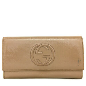 GUCCI Interlocking G Patent Leather Bifold Long Wallet /92011