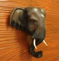 Vintage  Elephant Head Wood Art Carved Mask Wall Hanging Decor Gift Souvenir