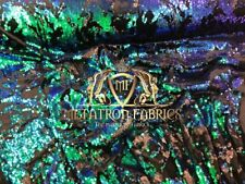 Velvet Sequins - Blue / Green / Black 4 Way Stretch Reversible Iridescent Fabric