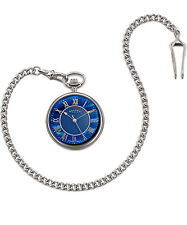 Dalvey Compact Open Face Pocket Swiss Watch  Blue Mother of Pearl Steel