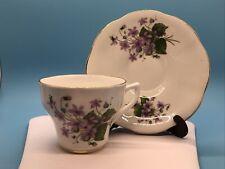 Rosina Fine Bone China, Purple Flower Teacup/saucer