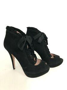 "Betsey Johnson Luvey Women's 8 M Black Suede Leather Ruffles 5"" Stiletto Heel"