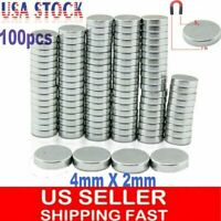 100 PCS Super Strong Round Disc 4 x 2 mm Magnets Rare Earth Neodymium N35