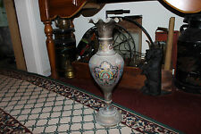 Antique India Middle Eastern Metal Floor Urn Vase-Intricate Engravings & Colors