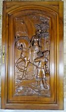 Large French Antique Architectural Carved  Walnut Wood Door Panel Horsewoman