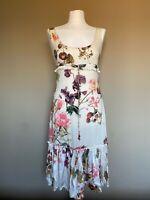 Roberto Cavalli Floral Beige Summer Midi Dress Size M