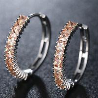 Mini Square Shaped Champagne Color Morganite Topaz Gemstone Hook Women Earrings