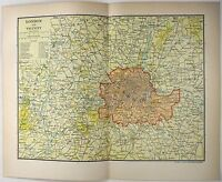 Original 1903 Dated Map of London and Vicinity by Dodd Mead & Company. Antique