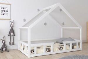 Niedriges Kinderbett Kinderhaus Kinder Holz Spielbett Hausbett 120x200 weiss