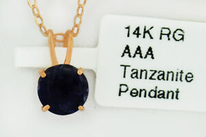 TANZANITE 0.87 Cts SOLITAIRE PENDANT 14k ROSE GOLD *** New With Tag ***