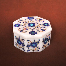 """4.5"""" inlay Malachite makrana Marble Jewelry storage Trinket storage blue Box"""