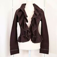 Saks Fifth Avenue Brown Wool Jacket Size XS Womens Double Ruffle detail Euc