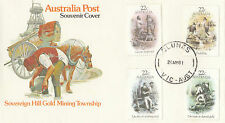 Stamps Australia 22c gold mining set of 4 on post office souvenir cover CLUNES