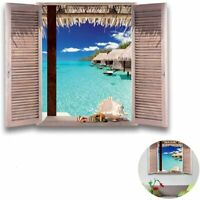 Tropical Blue Sea Sand Beach 3D Window Wall Sticker Art Vinyl Decal Decor Mural