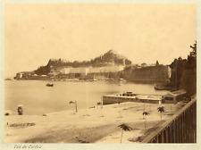 Grèce, Corfou, vue du Port Vintage Albumen Print Tirage albuminé  20x25  C