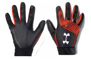 Under Armour Clean Up Batting Gloves YOUTH L, Black, Orange, Baseball B41