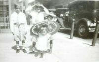 Vintage B&W Photo Of Dressed Up Children In Street Little Boy Girl with Parasole