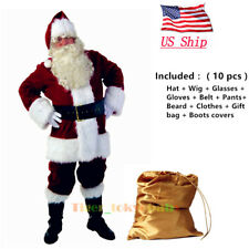 US! Santa Claus Luxury Cosplay Costume Christmas Suit Adult Party Fancy Full Set