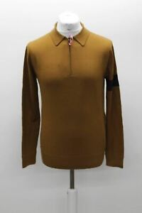 RAPHA Men's Golden Brown Merino Wool Long Sleeve Cycling Polo Shirt M BNWT