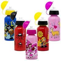 Kids Aluminium Drinks Bottle 400ml Childrens Water Flask Boys Girls School Lunch