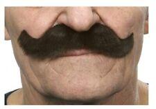 Quality Dark Brown Curly Mustache Snor Luigi Self Adhesive Facial Hair Mens