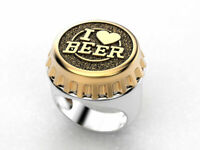 Fashion Two Tone 925 Silver Rings Women Mens Jewelry I Love Beer Ring Size 7-12