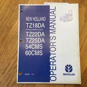 New Holland TZ18DA TZ22DA TZ25DA TRACTOR OPERATOR MANUAL MAINTENANCE 87307201