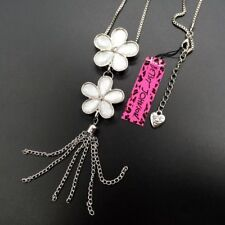💋 Betsey Johnson White Flowers Daisy Tassel Pendant Silver Plate 🇺🇸 US SELLER
