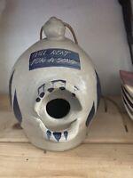 """VTG Williamsburg Pottery Birdhouse Salt Glazed Gray Blue  """"Will Rent For Song"""""""