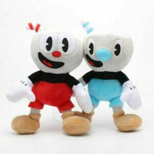 2pcs Cuphead Game Cuphead & Mugman Mecup And Brocup Soft Plush Stuffed Doll Toy