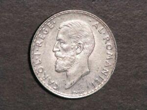 ROMANIA 1912 1 Leu Silver AU-Unc
