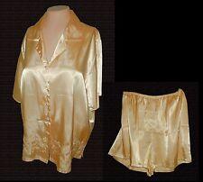 2-PC PJs Pajamas: Top & Tap Pants, Sophia delicates, Silky Gold Embroidr NWOT XL