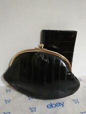 Lee Sands Genuine EEL Skin Black Kiss Clasp Clutch/Shoulder Bag with Wallet