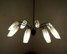 alte Lampe Sputnik Spinne Luester Opalglas Milchglas midcentury LampeLamp Design