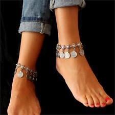 Turkish Festival Ethnic Silver Coin Tassel Anklet Ankle Bracelet Foot Jewelry