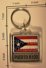 Puerto Rico Flag Keychain Plastic Double Sided Key Ring Chain Souvenir Pride New