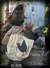 Primitive Black Folk Art Had a Lil Chicken Kats Country Prims Pattern #146