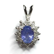 Oval Tanzanite & .32ctw Diamond Cluster Pendant 14KT White Gold Jewelry GVM5634