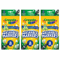 (3 Pack) NEW Crayola, Fine Line, Washable Markers, 8/Pkg ,Classic Colors