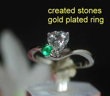 Emerald Platinum Solitaire with Accents Costume Rings