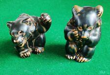 Rare Vtg Set 2 Royal Copenhagen Bear Cub Figurines 21433 by Knud Kyhn Denmark