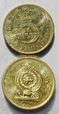 Sri Lanka 5  Rupees 2011 23mm copper plated steel coin AU 1pcs