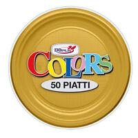 PIATTI PICCOLI FRUTTA DOPLA IN PLASTICA MONOUSO ORO CF.50 PZ. PARTY TINTA UNITA