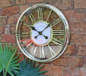 Wall Clock Round Wheel Roman Numerals Statement Piece Decor Silver Large 45cm