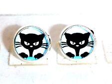 Ohrstecker Katzenauge Rund Klein Damen Ohrringe Ohrschmuck Modeschmuck Glas Blau