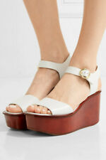 MICHAEL KORS Collection Brigette White Leather Wood Platform sandals 37 New