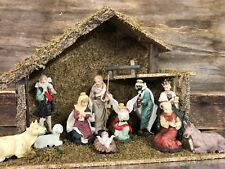 Complete Traditional Nativity Set 11 Figures & Stable Christmas Ornament 8994