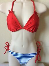 Cynababy Sugar Baby Red Nautical Scrunch Bikini Set, Women, Juniors, Size S/L